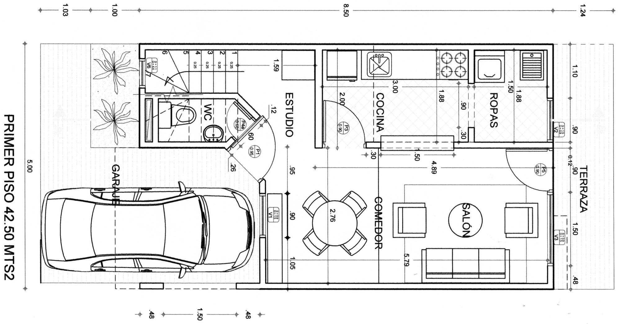 Plano de primer piso casa con un local buscar con google for Planos para casas de un piso
