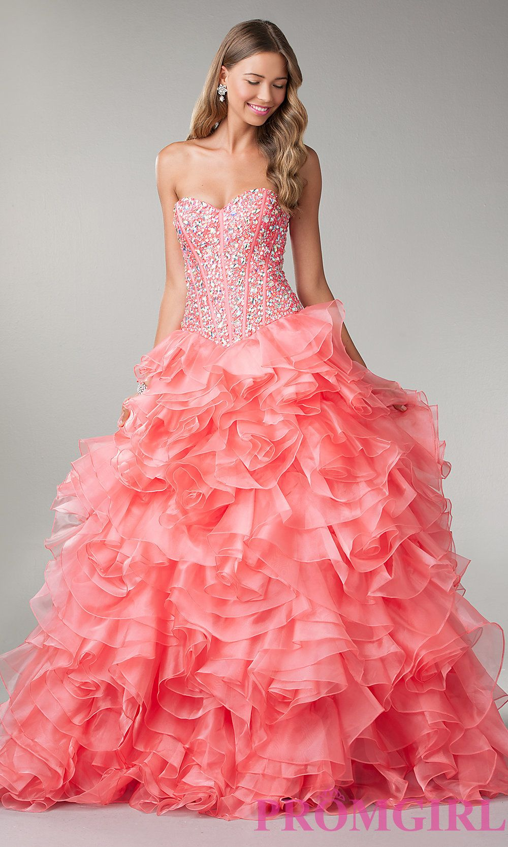 Beaded Corset Prom Dress, Strapless Ball Gown- PromGirl | prom ...
