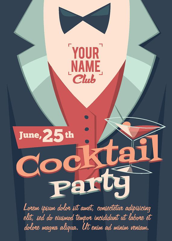 Vintage Retro Cocktail Birthday Party Invitation Invite Flyer – Party Invitation Flyer