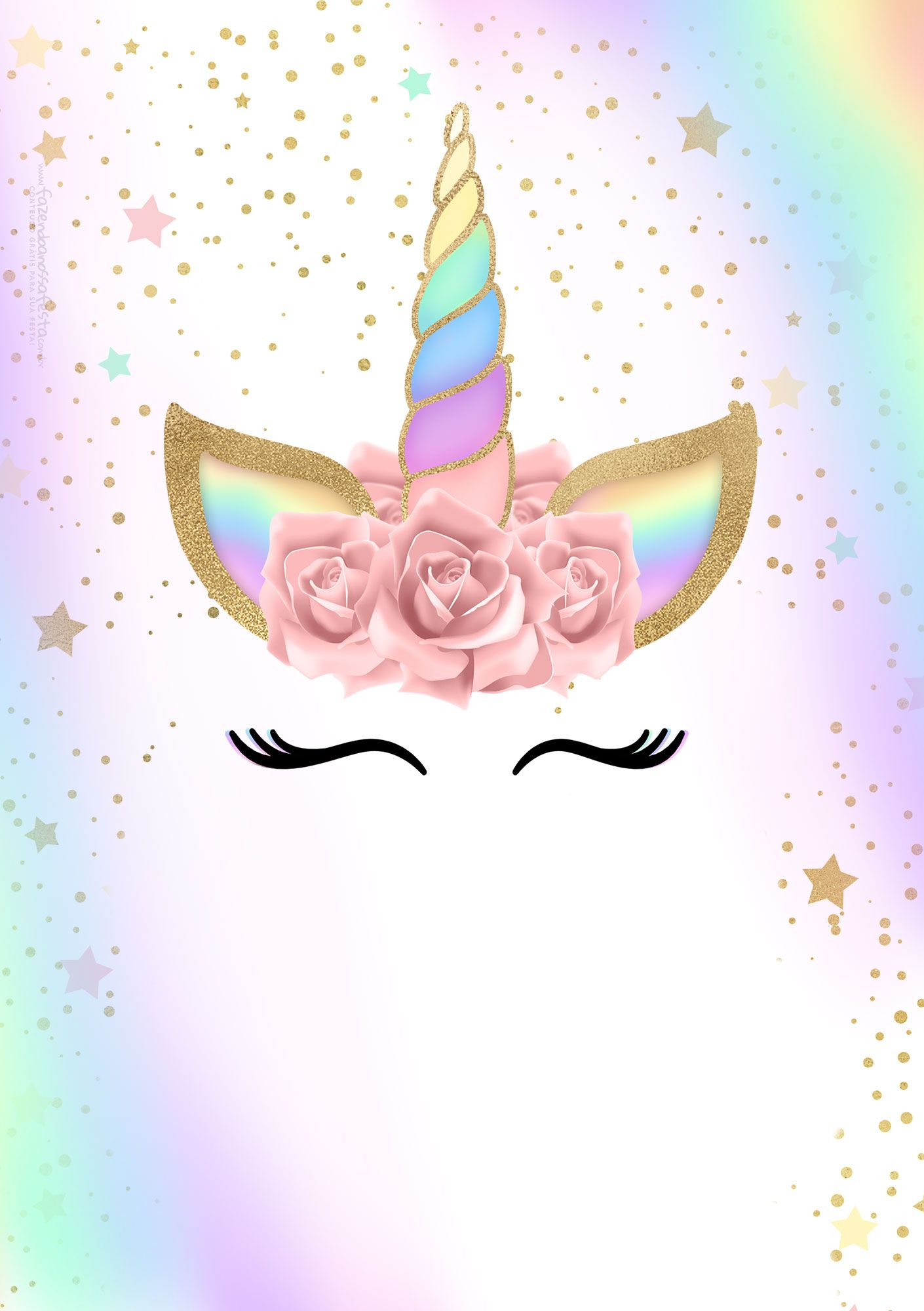 Convite Unicornio Gratis 2 Fiesta Unicornio Unicorn Party