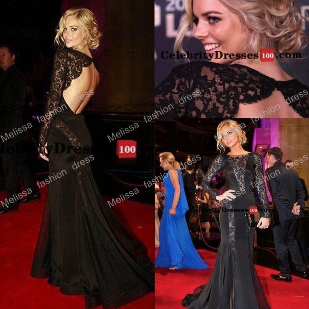 Long black lace dress back