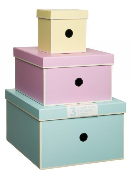 This set of 3 nested storage boxes is the perfect way to keep yourself and your belongings organised. The smallest box has dimensions of 131mm W x 131mm D x ...  sc 1 st  Pinterest & This set of 3 nested storage boxes is the perfect way to keep ...