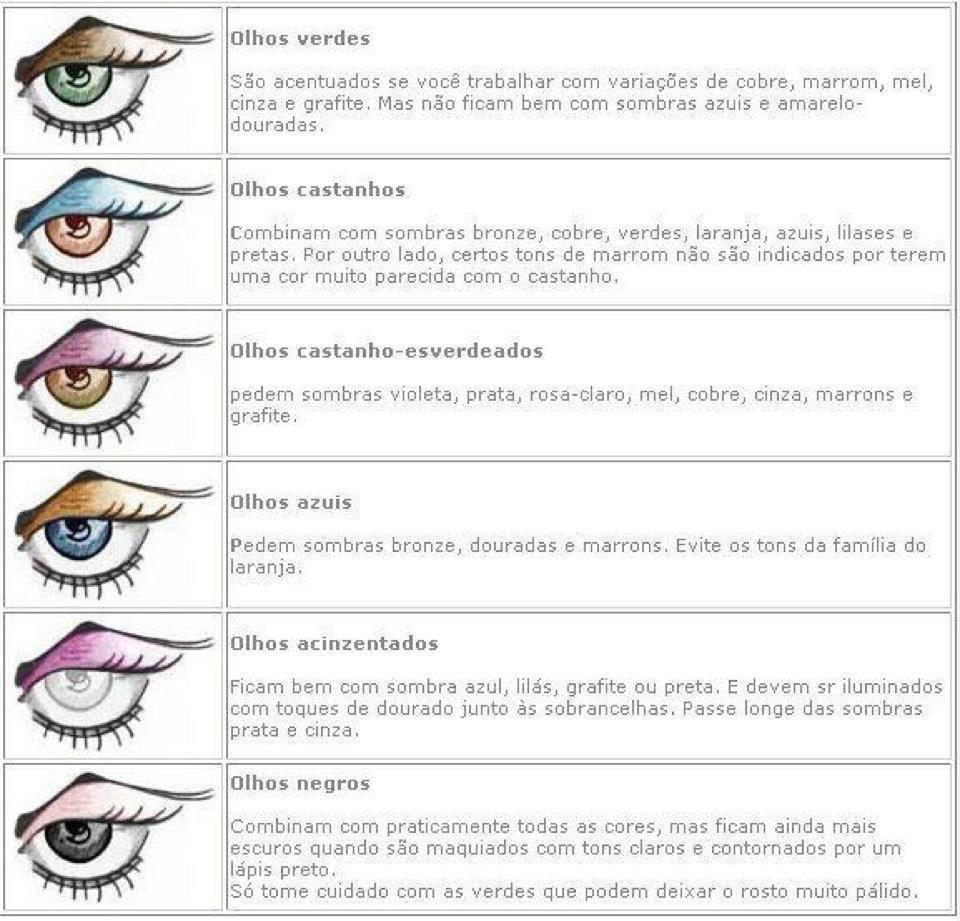Cores de sombras ideais para cara cor de olhos!