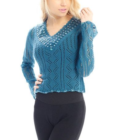 Another great find on #zulily! Blue Sequin & Eyelet V-Neck Sweater - Women by Pink Ocean #zulilyfinds