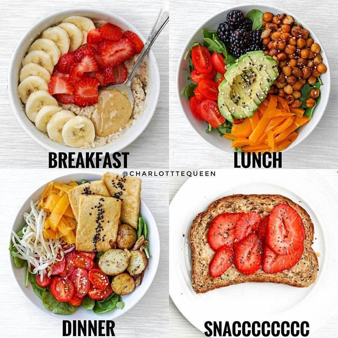 """fornire cibo 🍏 su Instagram: """"Quello che mangio in un giorno 💁🏻♀️ mantenendolo semplice come sempre! Reakfast ⠀ 🍒Colazione: avena proteica alla vaniglia con fragole, banana e burro di mandorle … """""""