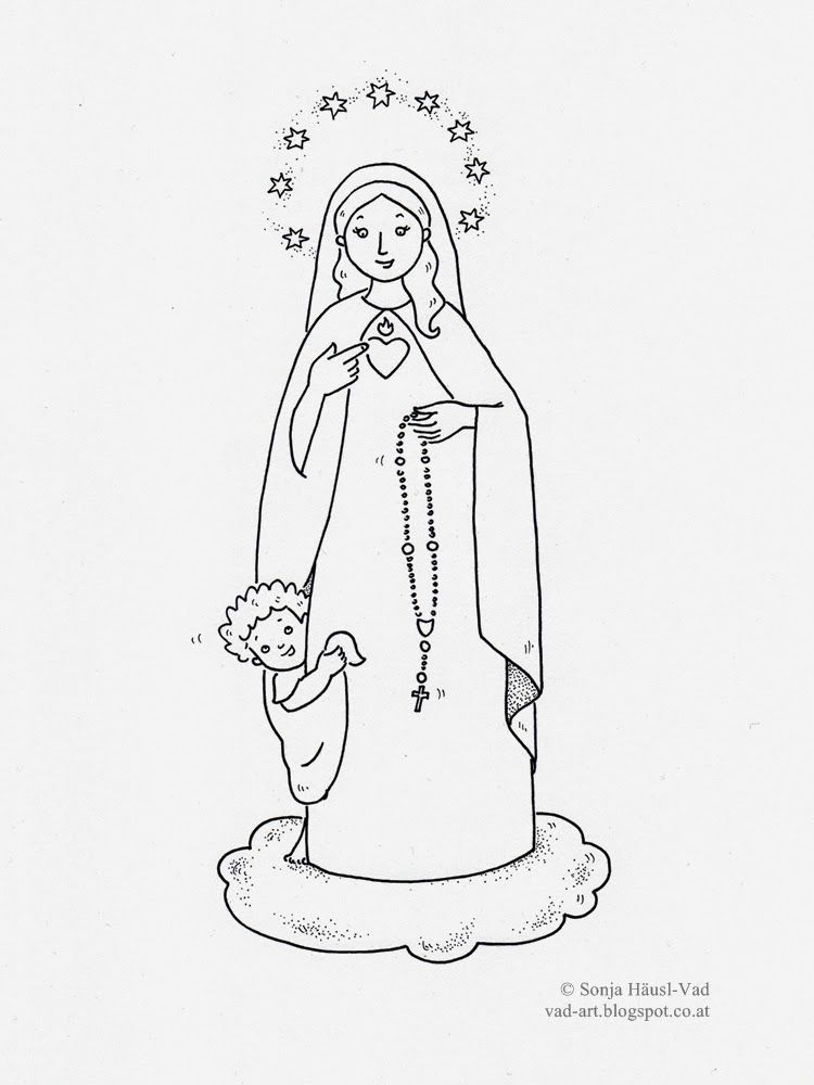Virgin Mary, coloring page | for kids | Pinterest | Católico