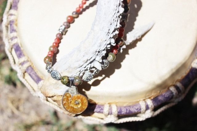 Handmade Ammonite stone and jasper necklace by Paoniasage on Etsy