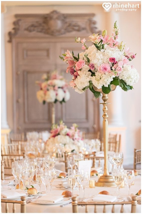 Tall Wedding Centerpieces Pink White Gold Timeless Elegant Decor
