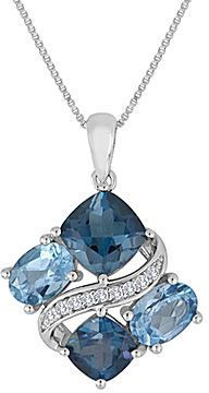 FINE JEWELRY Genuine Blue Topaz & Lab-Created White Sapphire Sterling Silver Pendant Necklace