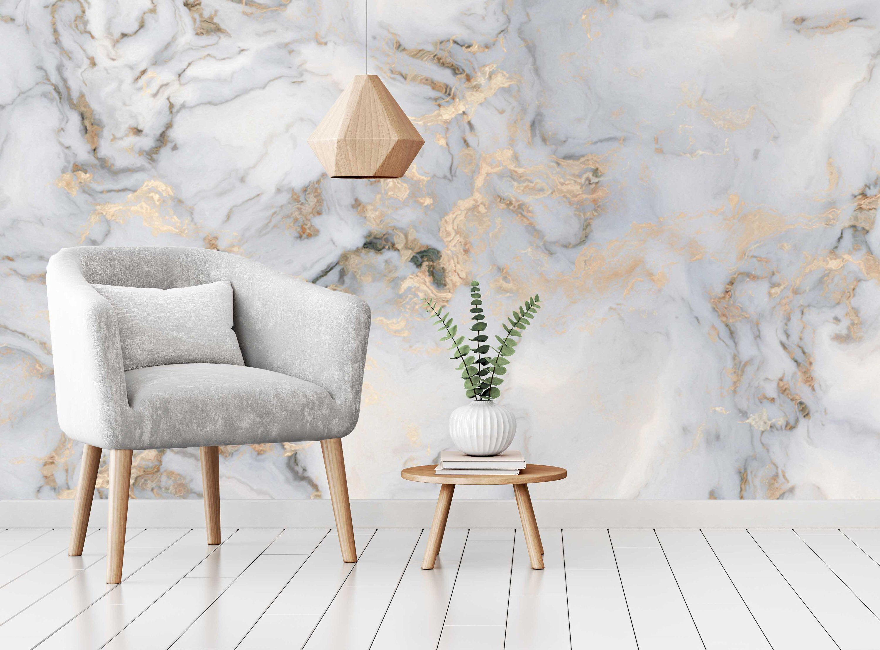 Marble Texture Gray Golden Look Abstract Design Wallpaper Self Etsy Gold Marble Wallpaper Marble Wall Mural Marble Wallpaper Bedroom