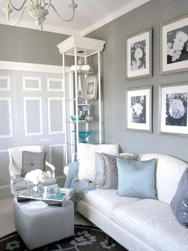gri mavi dekorasyon fikirleri oturma odasi salon mobilya duvar