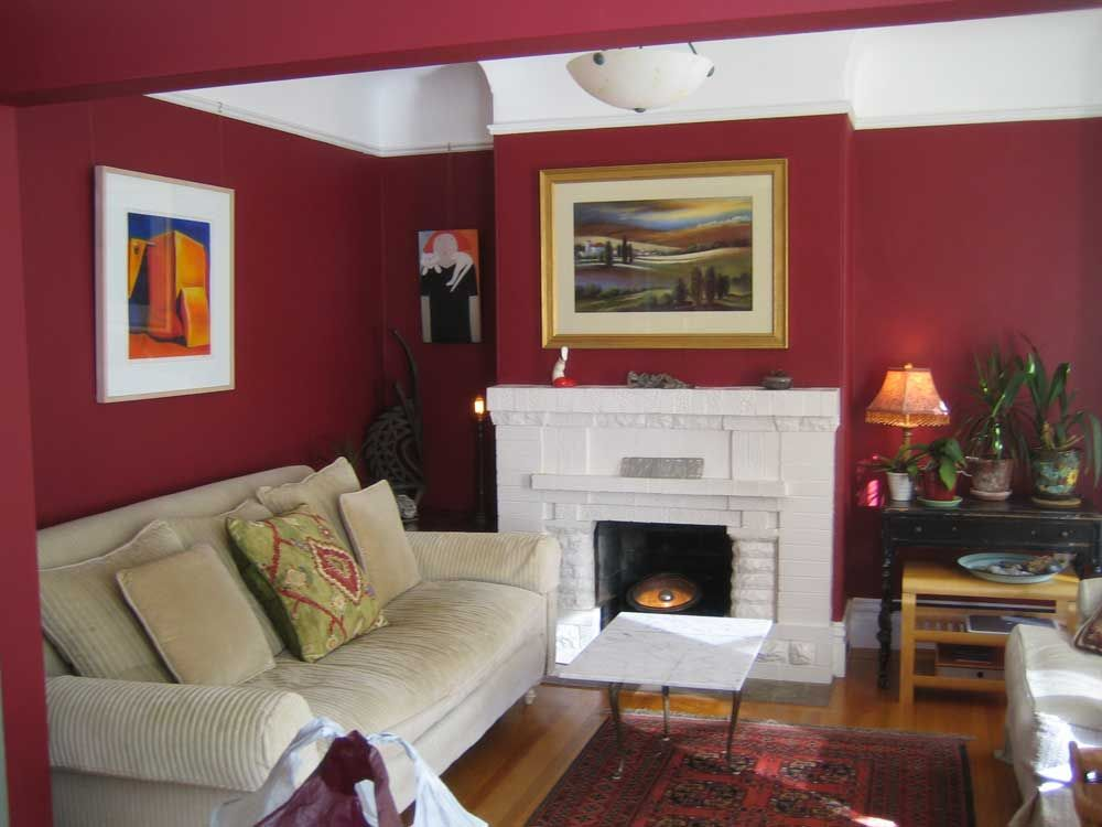 Furniture, Great Living Room Interior Design With White Fireplace Mantel  And Sweet Portray At Maroon Wall Painted Also White Cream Corduroy Sofa ~  Beautiful ...
