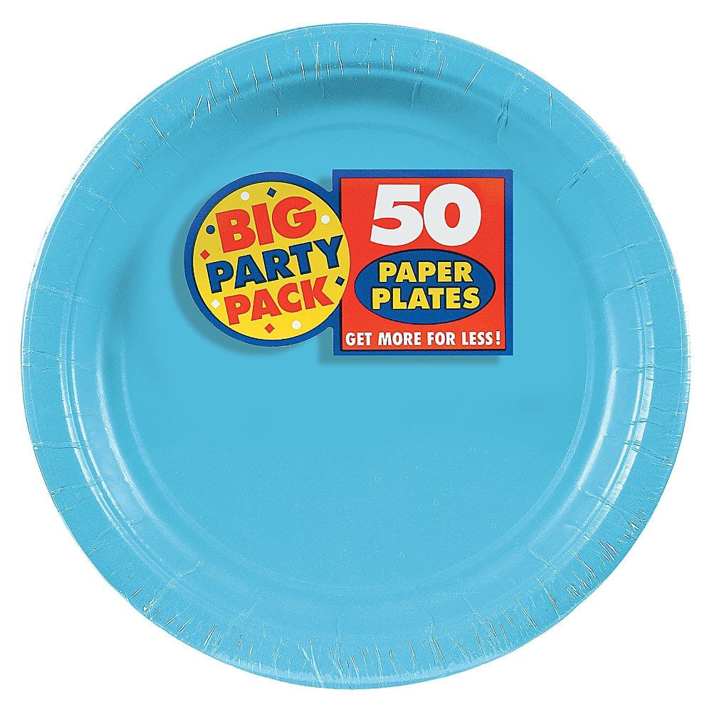 Amscan Big Party Pack 9 Round Paper Plates Caribbean Blue 50