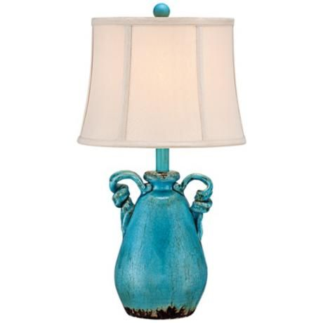 Beautiful This Charming Lamp Design Comes In An Eye Catching Turquoise Blue Crackled  Finish, With Rope Like Ceramic Handles And A Bell Shade On Top. Great Ideas