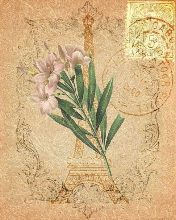 Old Eiffel Paper II - Floral Eiffel Tower Art Print, Parisian Style ...
