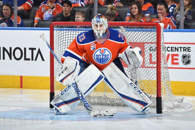 Edmonton Ab December 31 Cam Talbot 33 Of The Edmonton Oilers Skates Warms Up Prior To The Game Against The Vancouv Vancouver Canucks Hockey Goalie Canucks