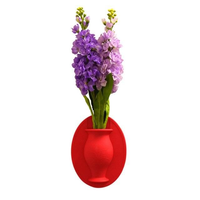 Photo of Vases Wall Hanging Floret Bottle Silicone Vase Container Magic Sticker On Glass Plant Flower Pots Silicone Sticky Container – 1 PC Red / SPAIN