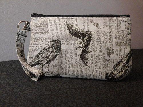 Large Nevermore Wristlet, #handmade #handmadebags #skullbags #macabrebags #skulls #macabre #raven