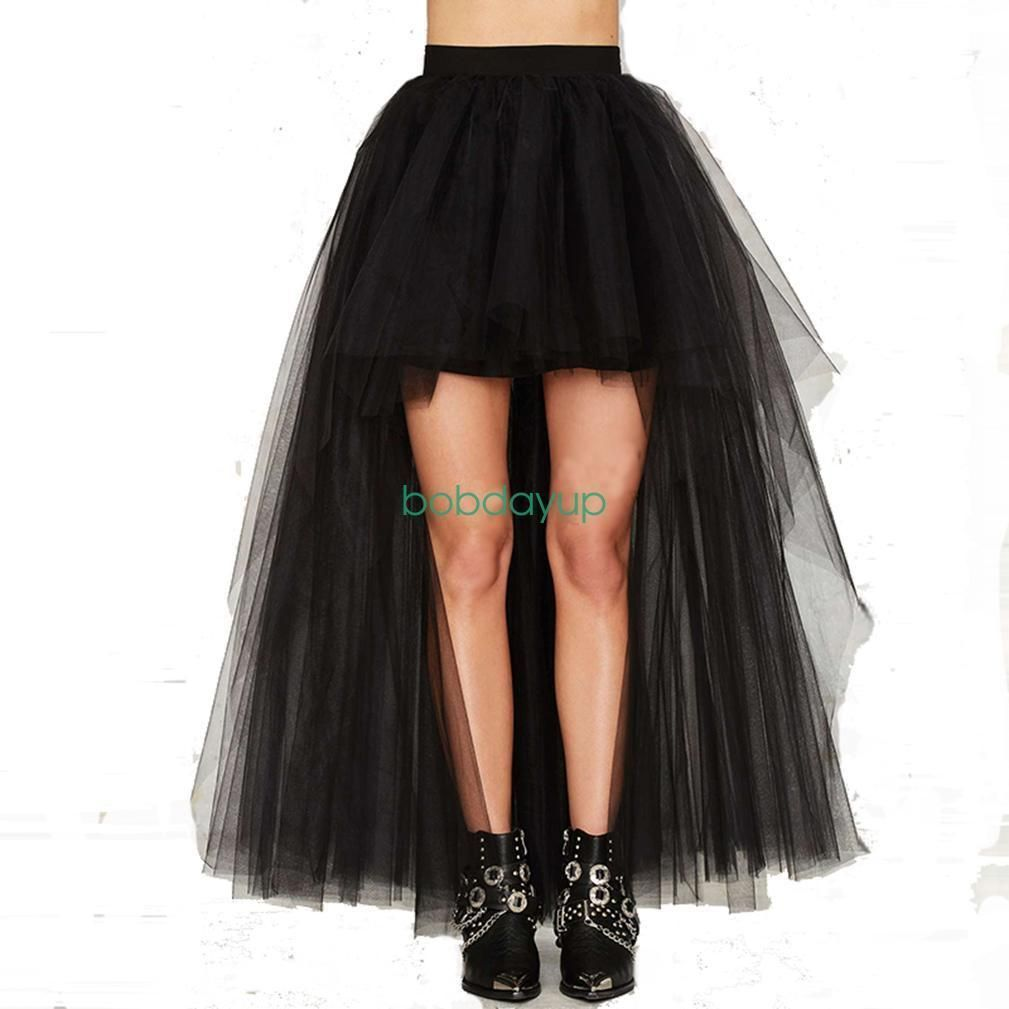 Women lady black asymmetric front short back long tulle tutu skirt b