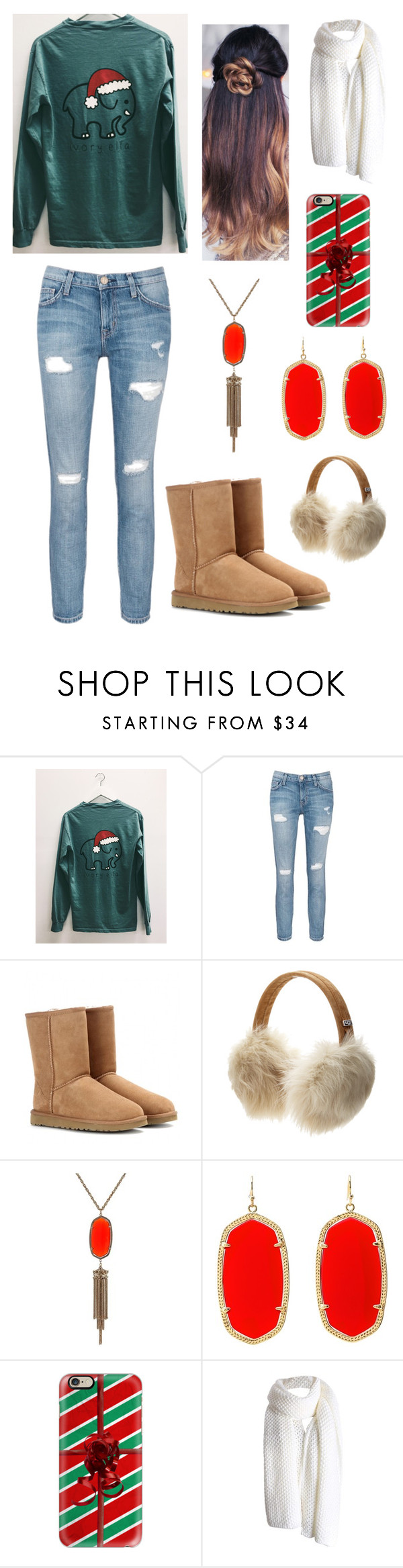 """""""xmas is in 17 days!!!"""" by emmaks9 ❤ liked on Polyvore featuring Current/Elliott, UGG Australia, Kendra Scott and Casetify"""
