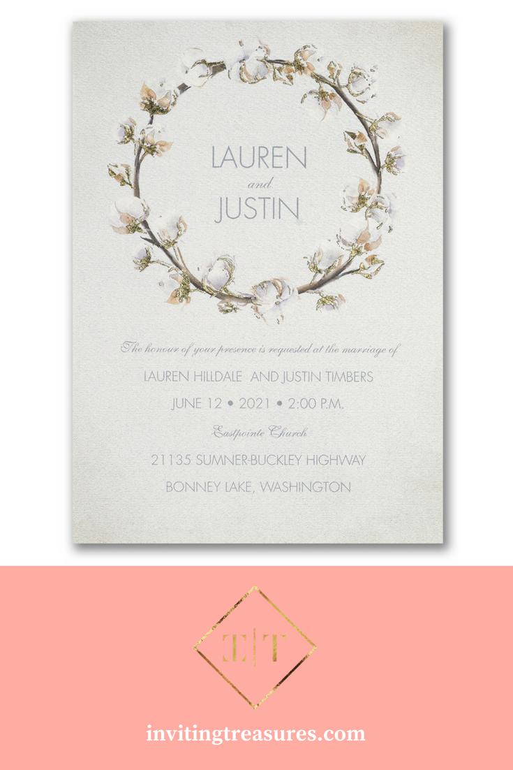Simple white wedding invitation ideas | Cotton wreath wedding ...