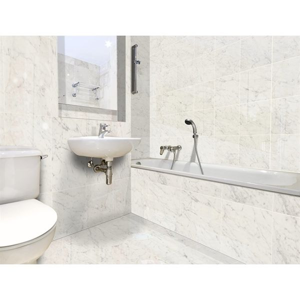 Shop Style Selections Futuro White Porcelain Thinset Mortar Floor And Wall Tile Common 12 In X