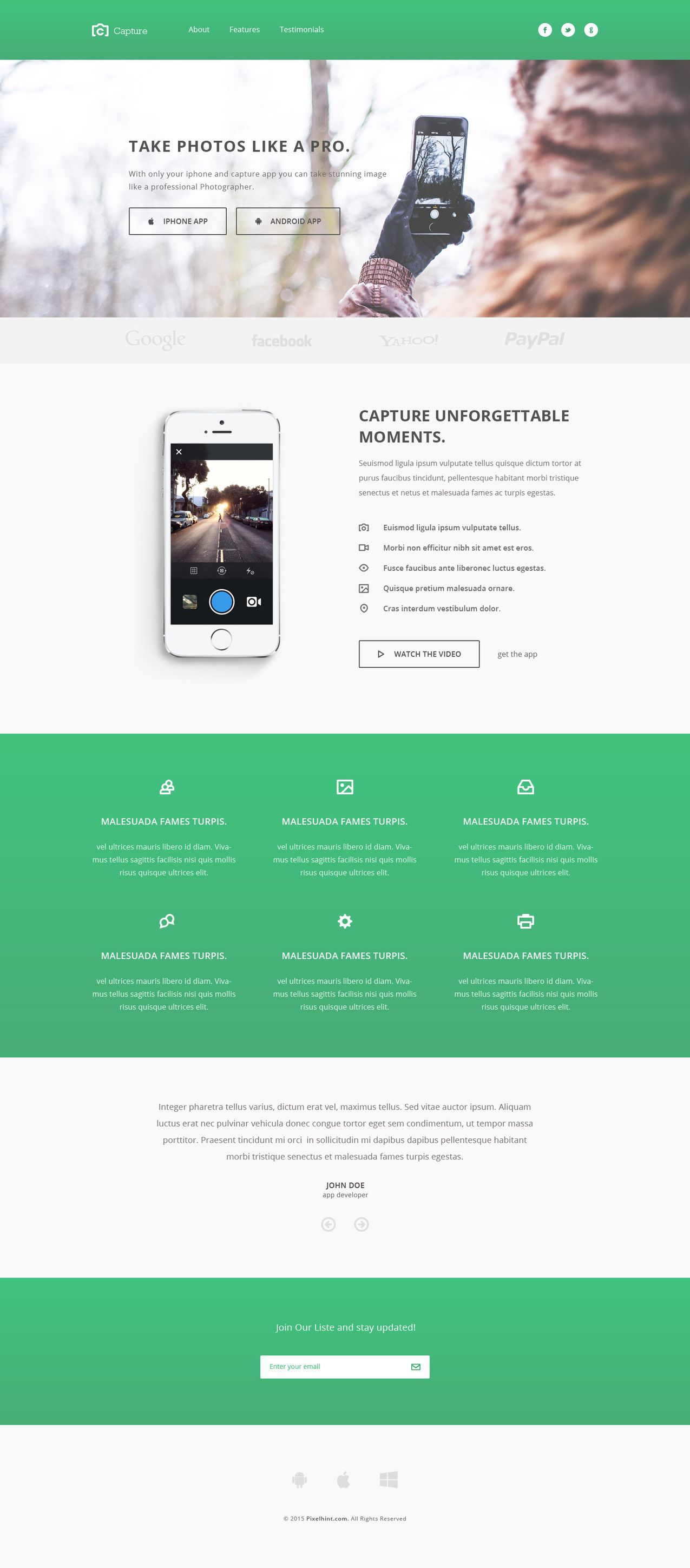 Capture - Free Responsive Bootstrap App Landing Page Theme