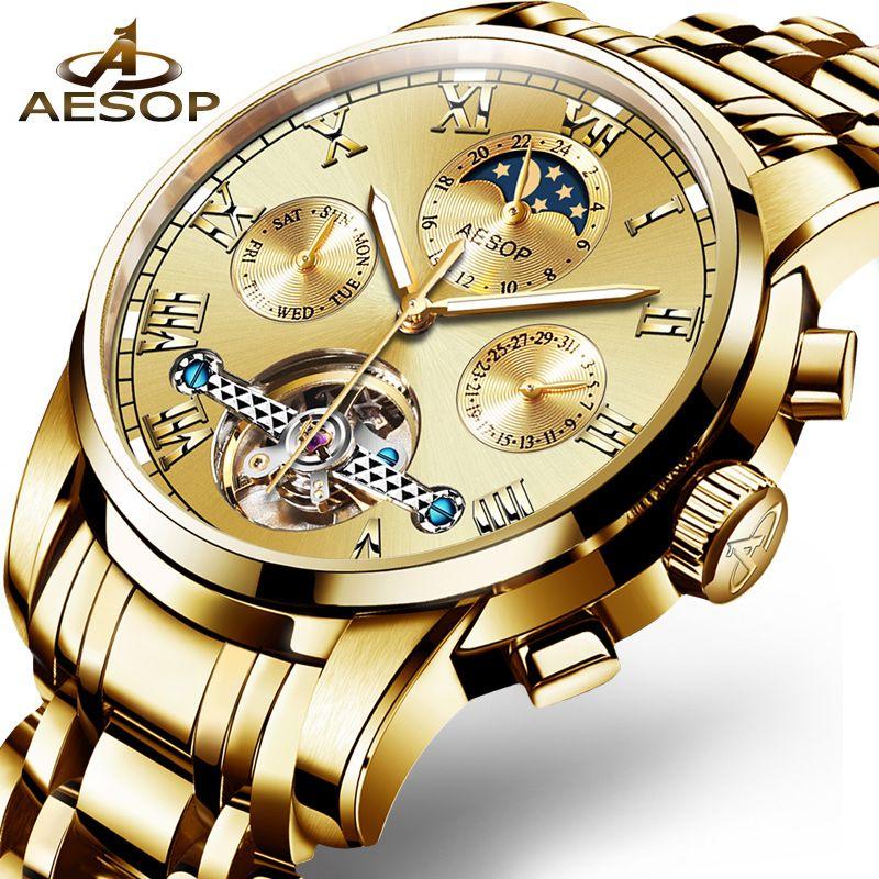 993a21c0a96 Aesop Mens Relógios Top Marca de Luxo Relógio Mecânico Automático Homens de  Aço Inoxidável Sapphire Calendário