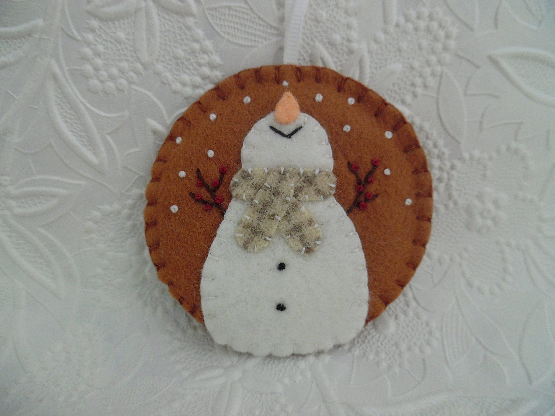 Snowflake Snowman Ornament Christmas Decoration Wool Felt Prim Etsy Felt Ornaments Felt Christmas Ornaments Christmas Crafts