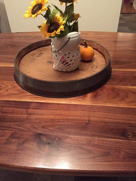 Wine barrel walnut dining table