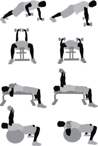 Vectores libres de derechos: Multiple images of a man exercising