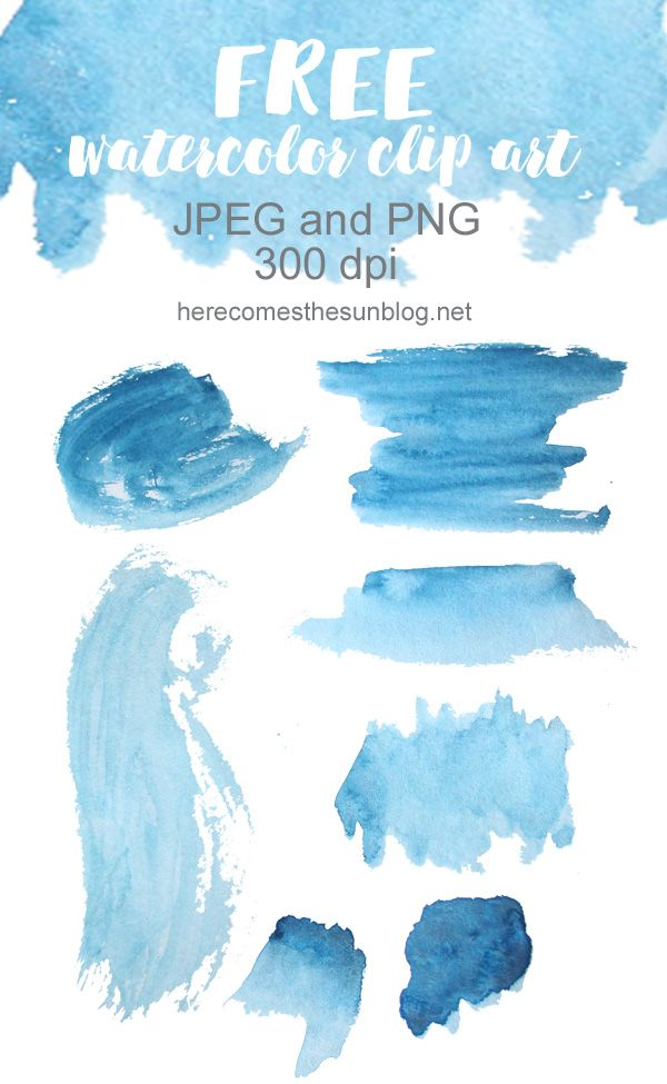Free Watercolor Clip Art Blue Hues Flower Background Design