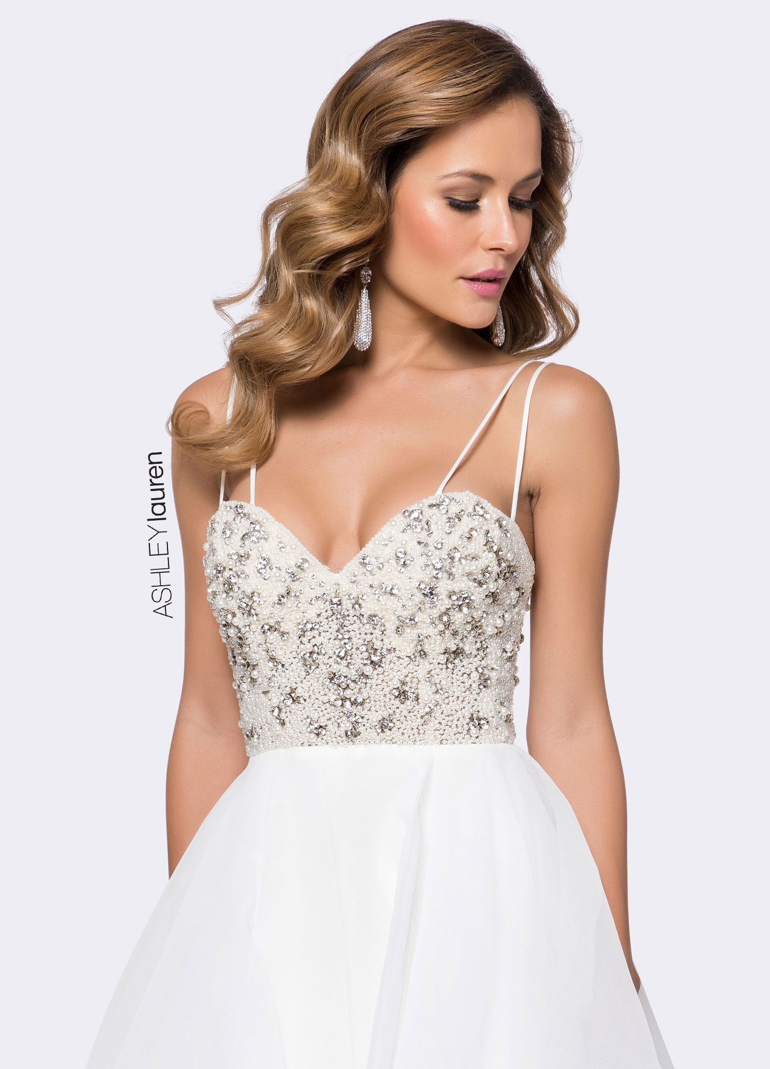 Style ashleylauren modern bridal dress with pearl