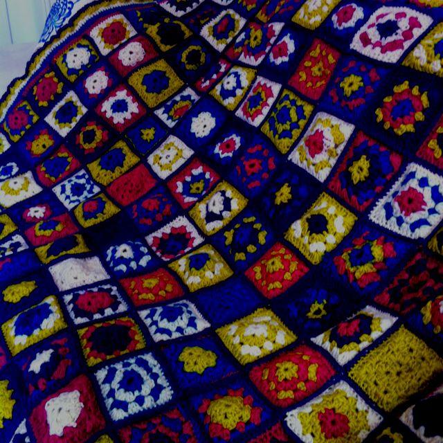 My crazy granny square lap blanket!