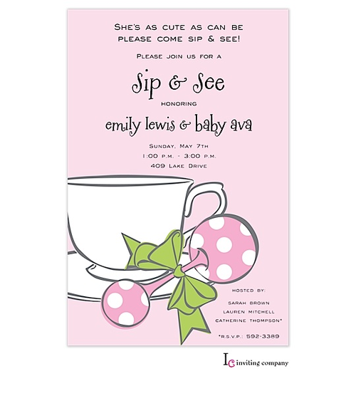 Sip and see baby shower invitations baby shower invitations baby girl shower filmwisefo Gallery