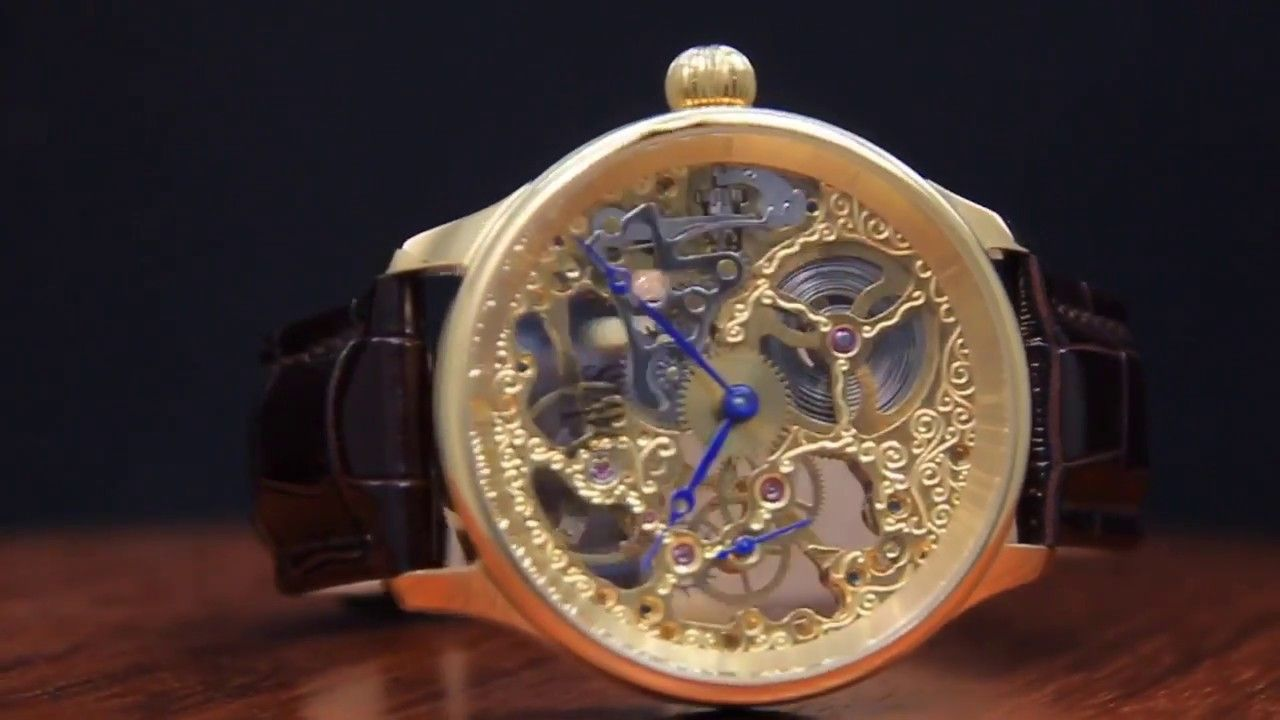 Bracelet Marron Montre Cuir Acier Jaune Or Mecanique Squelette Homme rCxWdBQoe