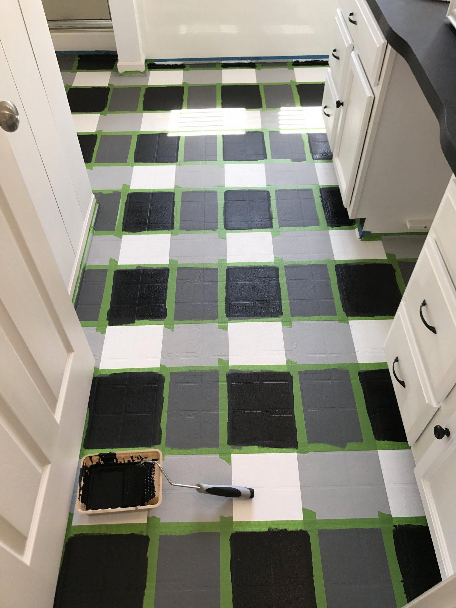 So You Re Here To Learn About My Buffalo Check Painted Floors Aren T The Amazing Sorry I J In 2020 Painted Floors Vinyl Flooring Bathroom Painting Tile Floors