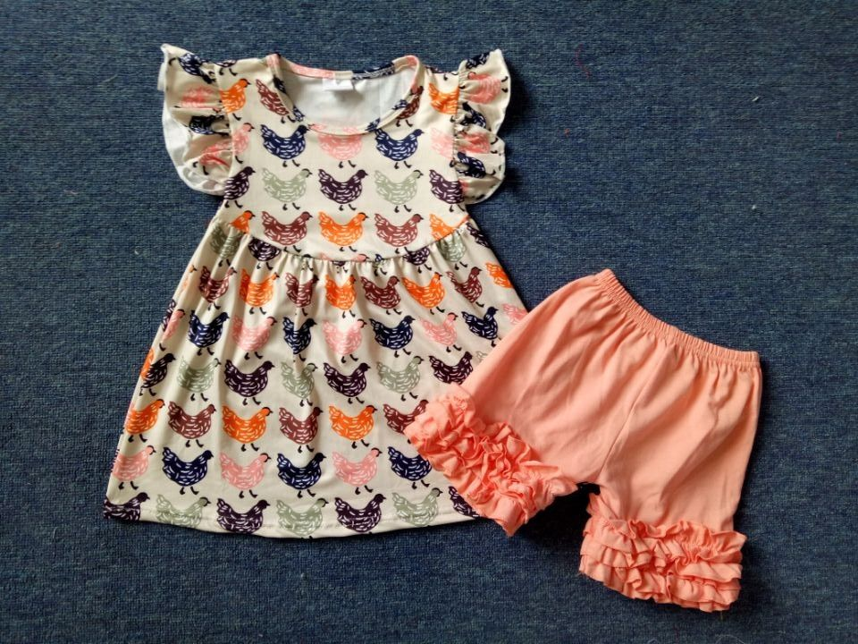 c83f7977dc0f Children clothes set cute chicken printing baby girl cotton clothes icing  ruffle shorts set