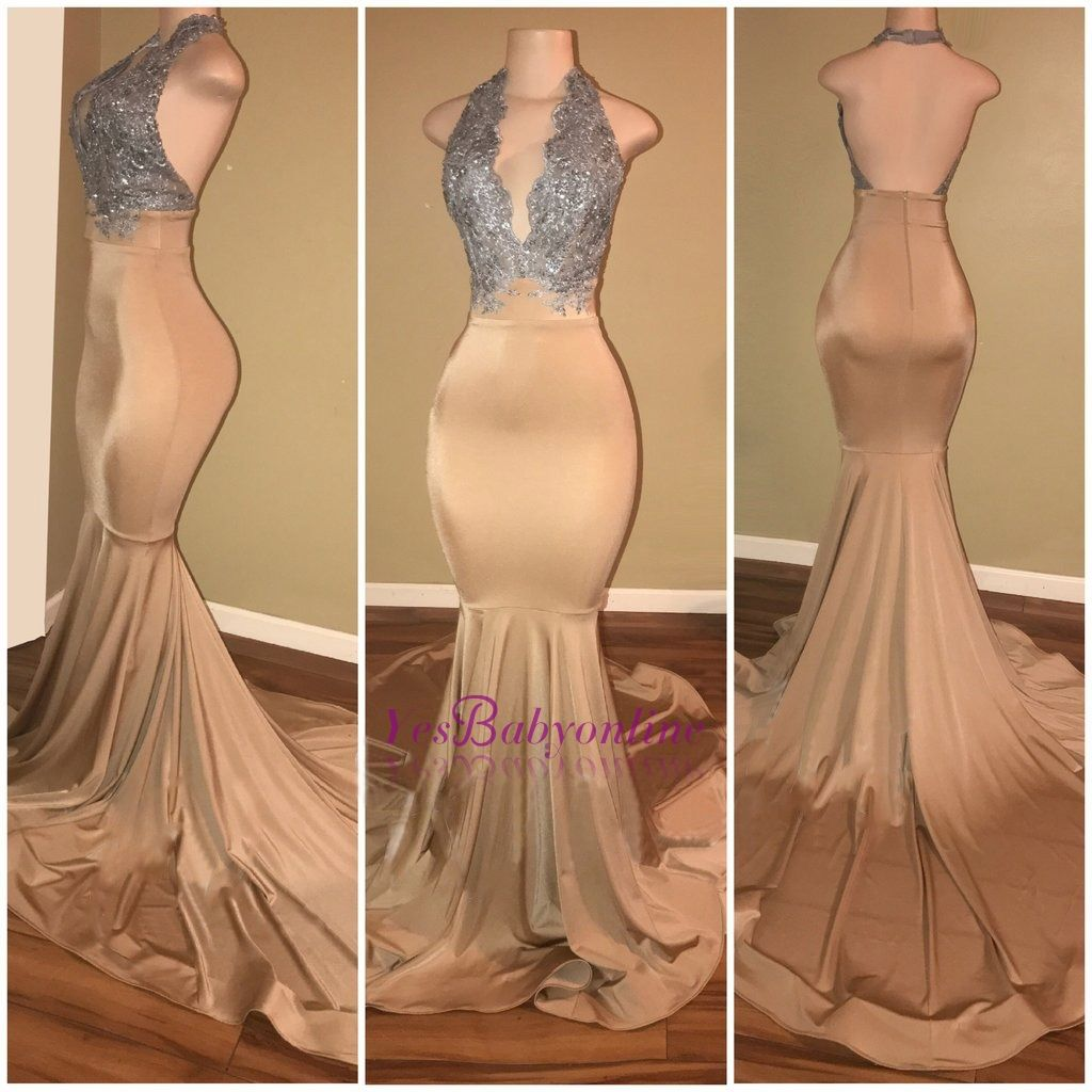 Halter mermaid sleeveless luxury lace applique prom