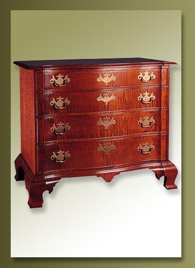 Beau Eldred Wheeler Serpentine Chest, Antique Reproduction Furniture