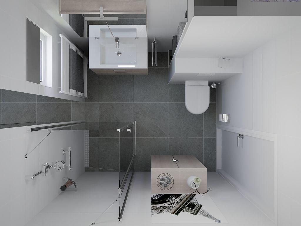 Kleine badkamer met handdoek nisjes achter de WC. www.sani-bouw.nl ...