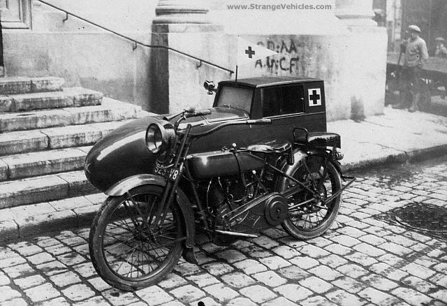 French police motorcycle with an ambulance sidecar attached. Circa 1900