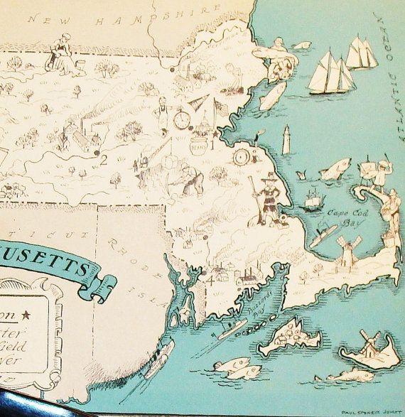 Massachusetts Vintage Map