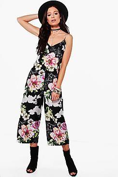 b193a1201 Mia Floral Print Lace Up Back Culotte Jumpsuit | boohoo wants ...