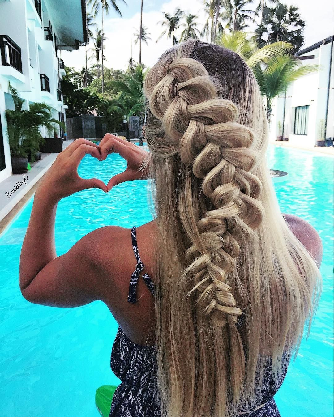 braid hairstyles   waterfall   blonde   for long hair ...