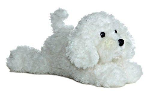 12 Aurora Plush White Puppy Dog Bichon Frise Flopsie Stuffed