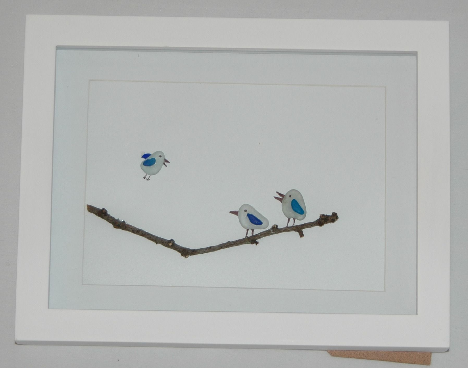 Sea glass picture of birds on a branch for sale on etsy