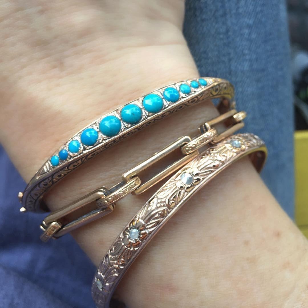 3 feet high and rising 🌸🌻🌺#turquoiseandgold #rosegold #goldjewelry #vintageinspired #getinspired #bracelets #arikkastan