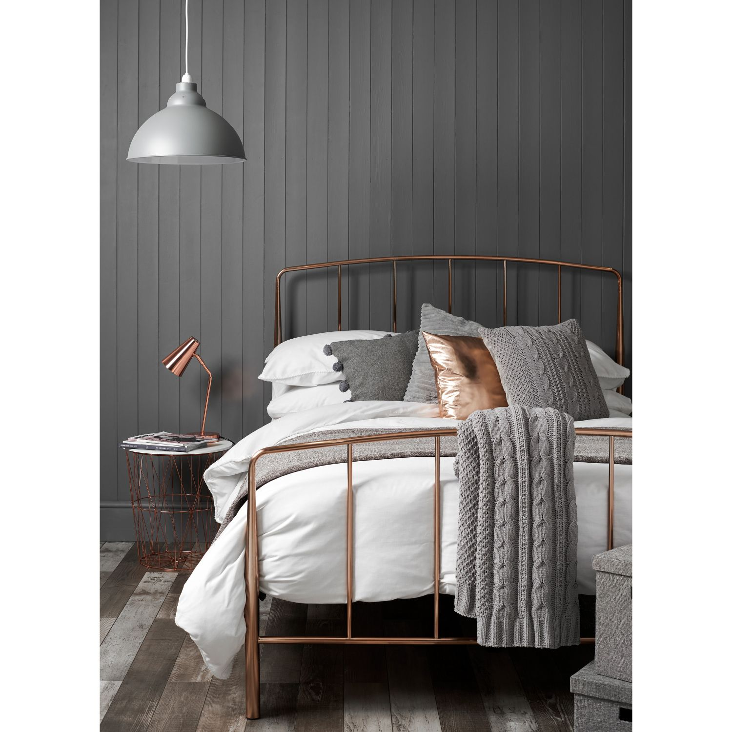 Best Alexa Rose Gold Bed Frame Copper And Grey Bedroom 400 x 300