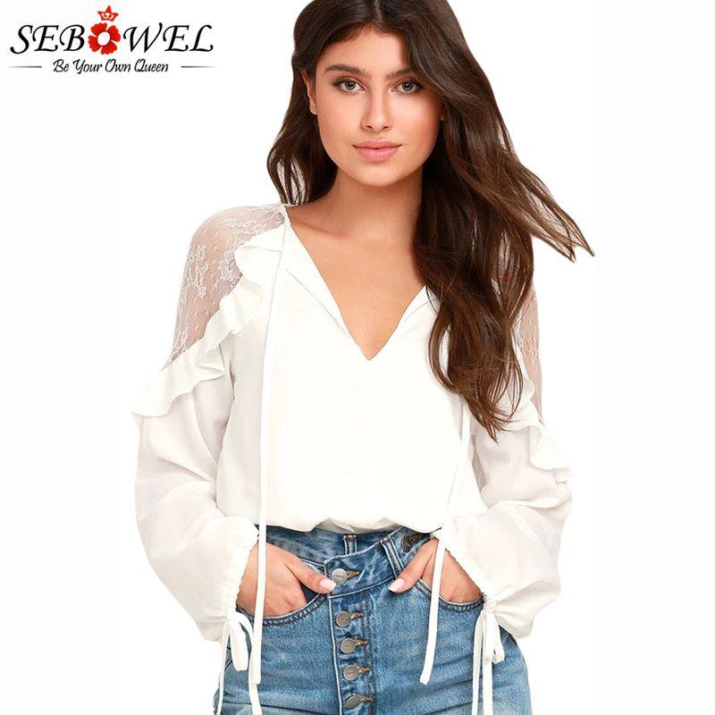 e604e82d5895 SEBOWEL 2018 White/Black Lace Long Sleeve Ladies Chiffon Blouses Sexy  V-neck Ruffle Shoulder Women Tops Blusas Plus size S-XXL